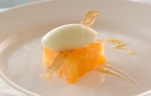 Milk and Jasmine Tea Sorbet, Mandarin Terrine, Orange Blossom White Balsamic Reduction