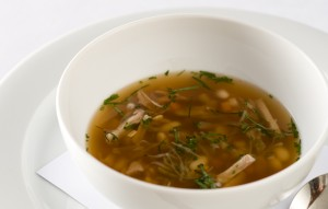 Rabbit Broth with Italian Almond Tea and Winter Vegetables