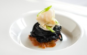 Tea Smoked Baby Abalone with Squid Ink Vermicelli